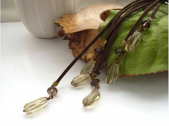 Multiple cord tassel necklace with lemon and smoky quartz gemstones