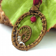 Ammonite woven wire pendant necklace
