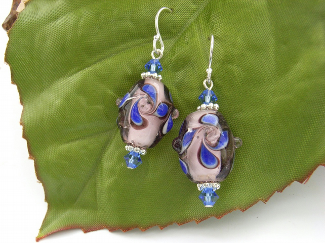 Lilac glass bead and crystal earrings sterling silver