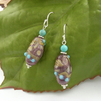 Earrings lampwork glass beads sterling silver