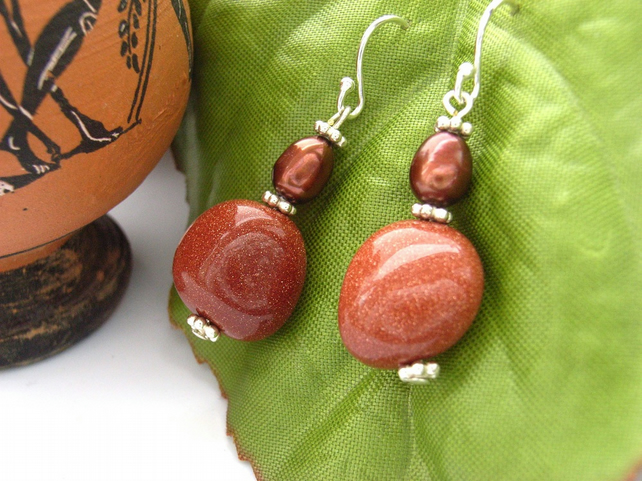 Sandstone and pearl earrings sterling silver
