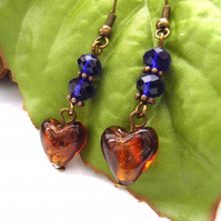 Heart bead and crystal earrings
