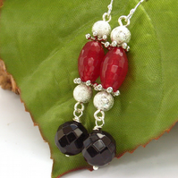 Onyx and quartzite earrings sterling silver