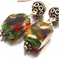 Glass and Bali bead earrings sterling silver