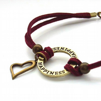 Cord bracelet happiness charm heart