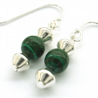 Earrings green Malachite beads sterling silver earwires
