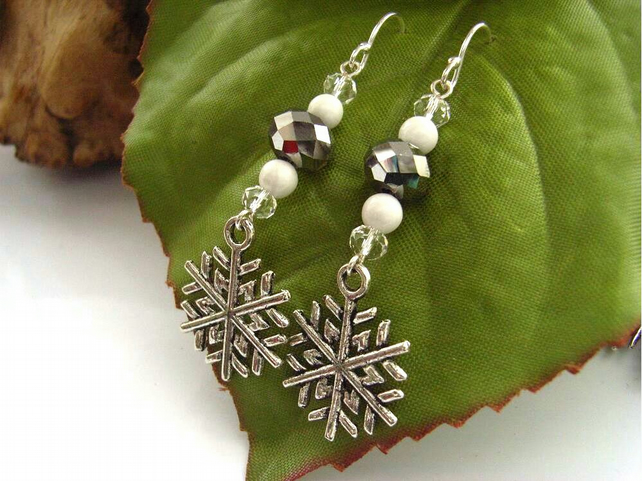 Snowflake crystal gemstone bead earrings sterling silver