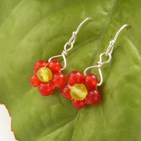 Tiny red bead earrings quartz sterling silver