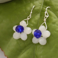 White flower tiny bead earrings sterling silver