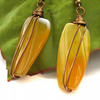 Yellow agate wire wrapped earrings