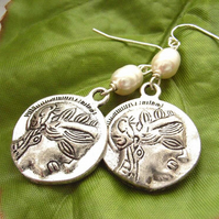 Coin pearl earrings sterling silver