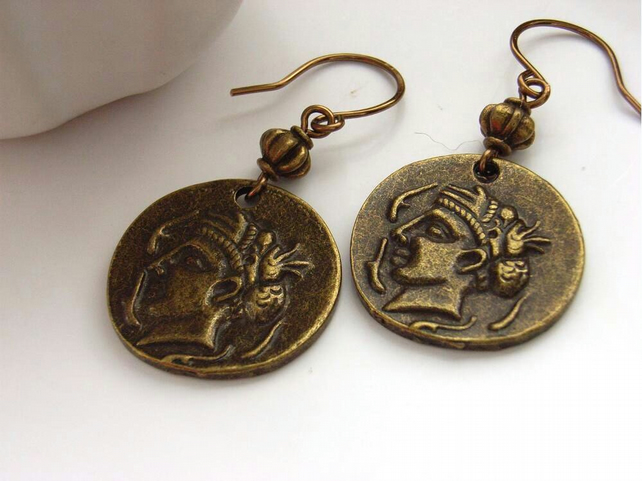Bronze tone ancient coin charm earrings