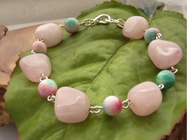 Bracelet rose quartz pink red green quartzite beads silver tone