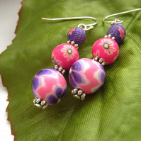 Pretty flower polymer clay bead earrings sterling silver