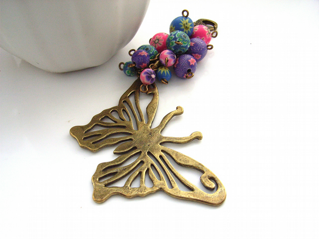 Big butterfly and polymer clay beads bag charm