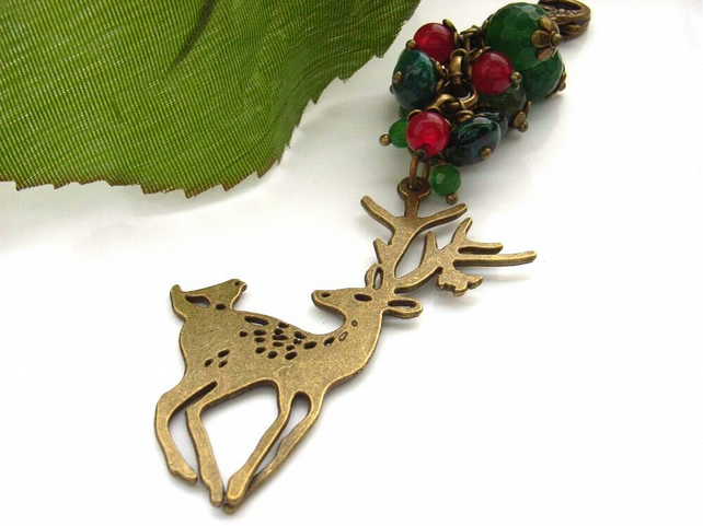 Deer and beads bag charm or purse charm