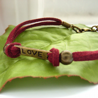 Cord charm bracelet love vintage style red faux suede