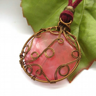 Wire work pendant cord necklace cherry quartz