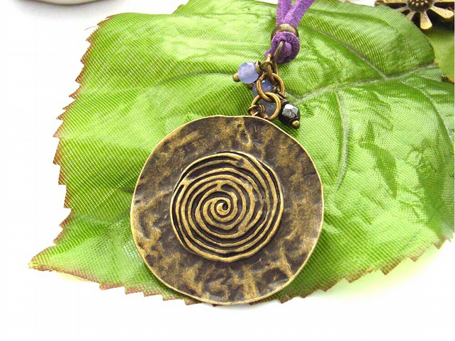Tribal circle charm beaded pendant necklace lilac faux suede cord