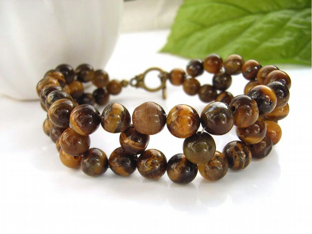 Tigers eye woven beaded bracelet