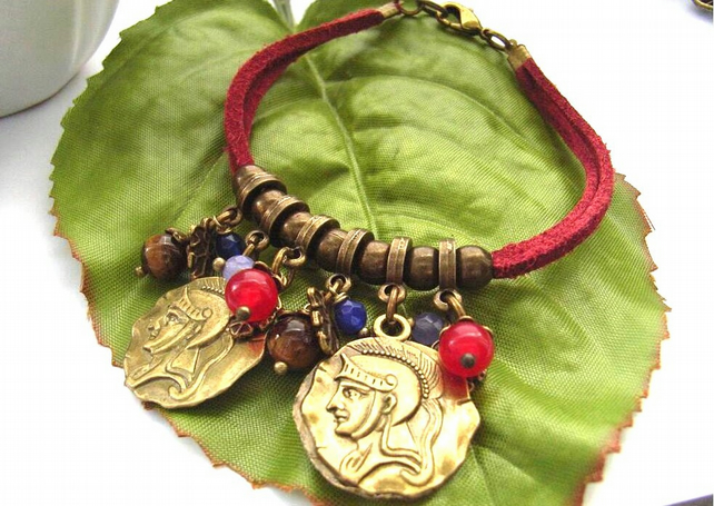Cord charm bracelet coins beads and leaves