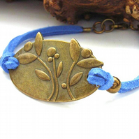 Blue cord bracelet flowers connector charm