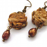 Picture jasper carved rose and chocolate pearl earrings