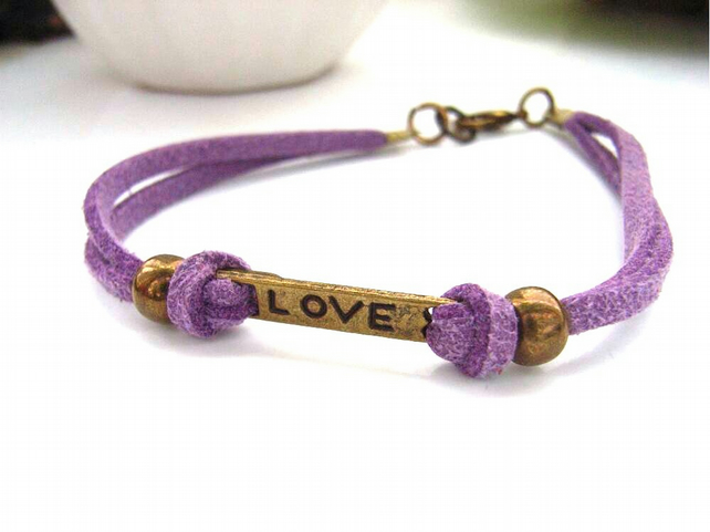 Love word charm bracelet faux suede lilac cord