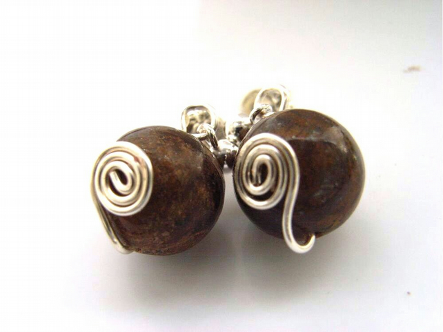 Bronzite bead swirl earrings sterling silver