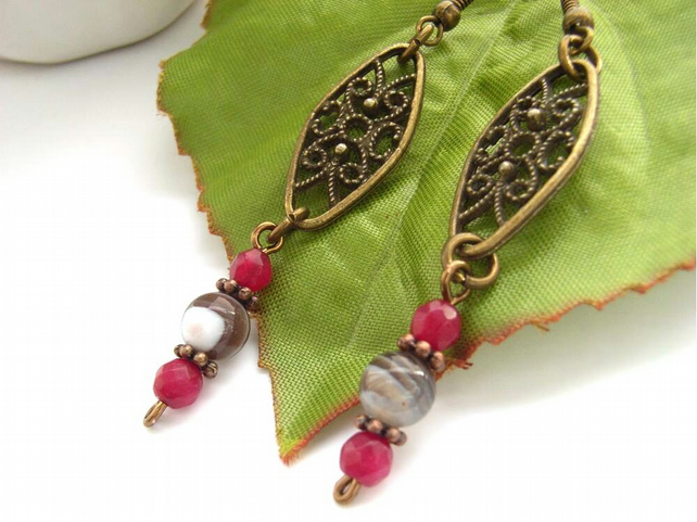 Botswana agate bead filigree vintage style bronze charm earrings