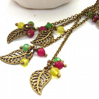 Leaves handbag bag or purse charm vintage style red green yellow beads