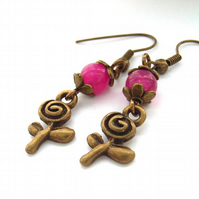 Pink rose charm earrings