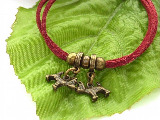 Charm bracelet cord two dogs red