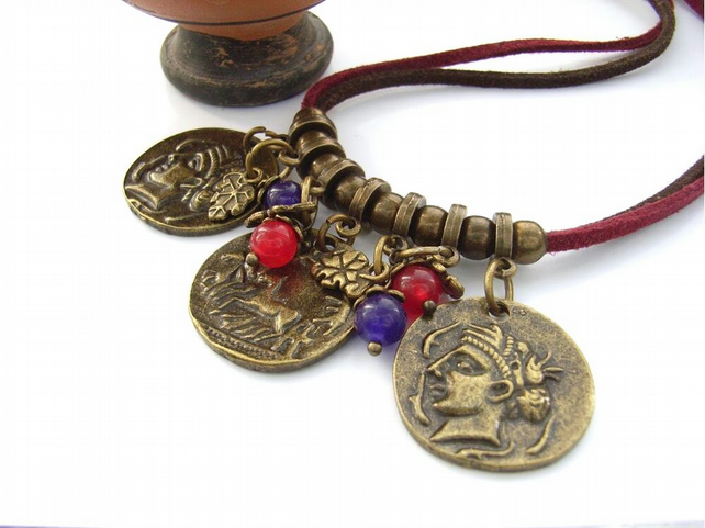 Charm necklace coins bead leaves red and brown faux suede cord