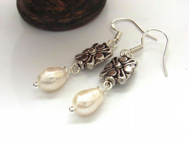 Earrings white pearl silver charm sterling silver