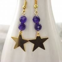 Gold plated star purple beaded earrings
