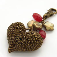 Vintage style heart bag charm