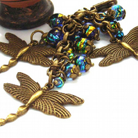 Steampunk style bag charm dragonflies blue green gold glass beads