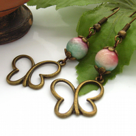 Bronze butterfly charm earrings quartzite bead pink green white bronze