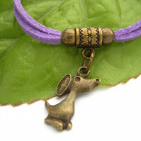 Little dog cord charm bracelet lilac