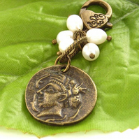 Coin bronze and pearl handbag bag or purse charm