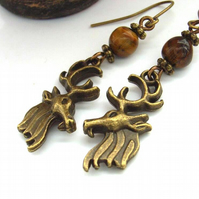 Earrings vintage style deer stag tigers eye charm beads