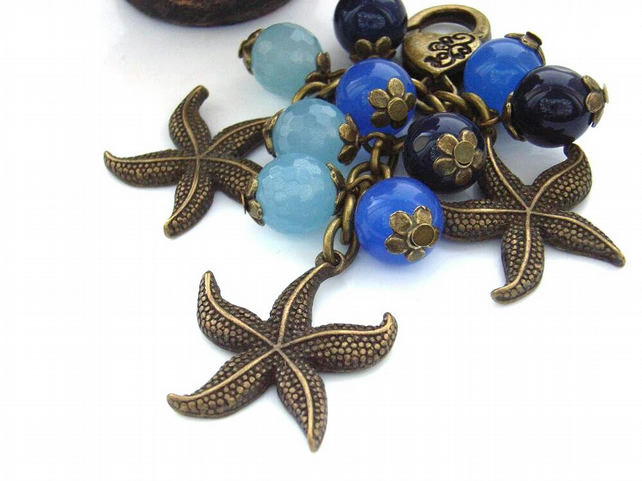Vintage style steampunk starfish bag charm