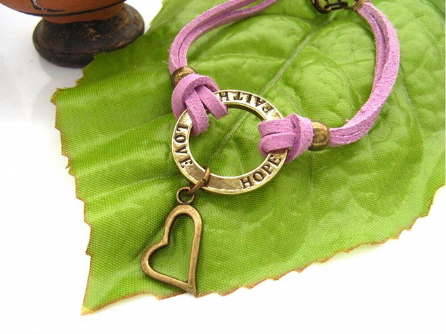 Word charm bracelet on lilac dusky pink faux suede cord