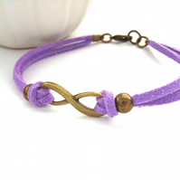 Infinity link charm bracelet lilac faux suede cord
