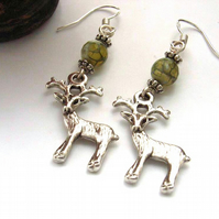 Deer and green agate charm earrings sterling silver