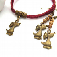 Dog charm bracelet and earrings set