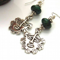 Green man charm earrings sterling silver