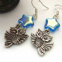 Owl and blue star sterling silver earrings