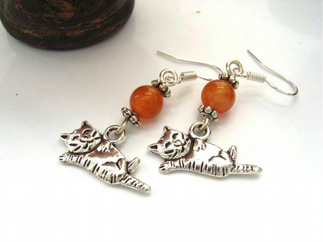 Cat and carnelian sterling silver earrings
